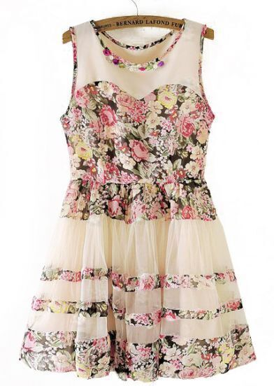 Beige Sleeveless Floral Flare Lace Dress