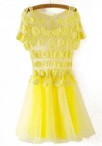 Yellow Short Sleeve Lace Hollow Flare Dress