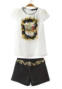 White Short Sleeve Embroidery Blouse With Black Shorts