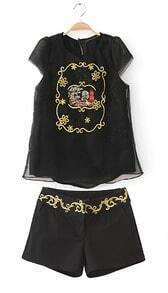 Black Short Sleeve Embroidery Blouse With White Shorts