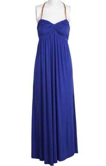 Blue Halter Strapless Pleated Ruffles Dress