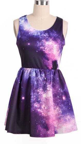 Purple Pink Sleeveless Galaxy Pattern Dress