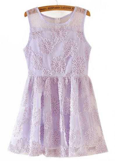 Purple Sleeveless Lace Embroidery Organza Dress