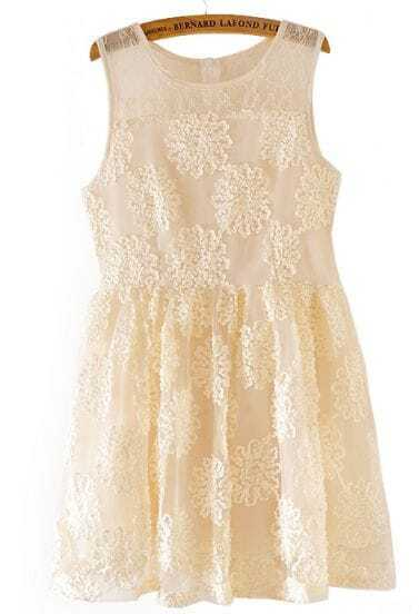 Apricot Sleeveless Lace Embroidery Organza Dress