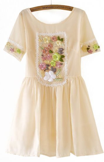 Apricot Short Sleeve Embroidery Flare Dress