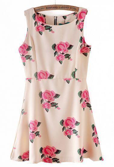 Apricot Sleeveless Back Zipper Rose Print Dress