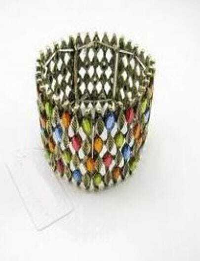 Multi Gemstone Gold Leaves Bracelet