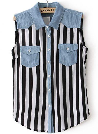 Black White Contrast Denim Vertical Stripe Blouse