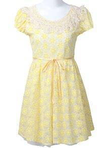 Yellow Short Sleeve Crochet Collar Embroidered Flowers Dress