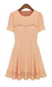 Pink Short Sleeve Hollow Black Zipper Ruffles Dress