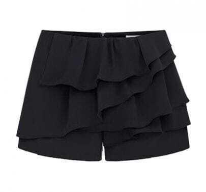 Black Cascading Ruffle Zipper Chiffon Shorts