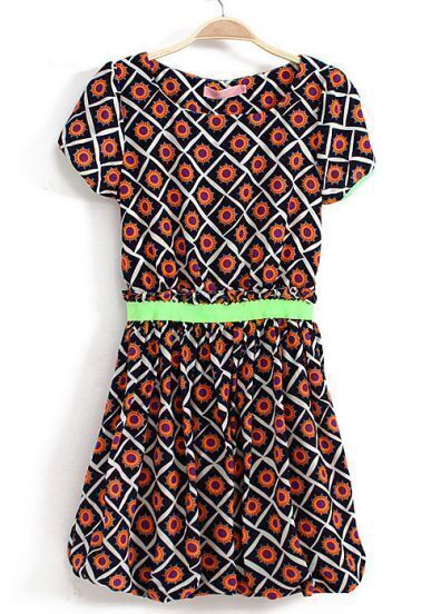 Navy Short Sleeve Geometric Print Bandeau Dress