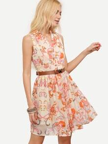 Beige Foam Sleeveless Floral Belt Chiffon Dress