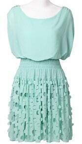 Green Short Sleeve Bandeau Hollow Polka Dot Dress