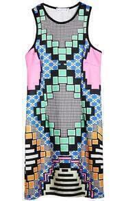 Green Sleeveless Geometric Print Vest