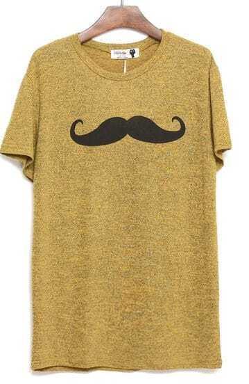 Mustard Short Sleeve Mustache Print T-shirt