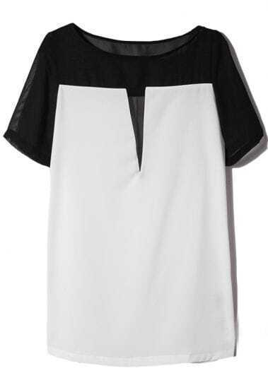 Black Contrast White Short Sleeve Chiffon H-line Dress