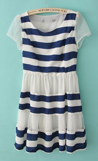 White and Blue Short Sleeve Striped Chiffon Dress
