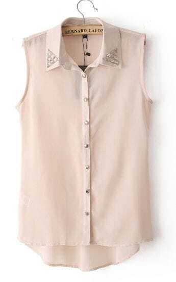 Light Pink Sleeveless Rivet Metal Collar Chiffon Blouses
