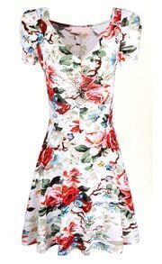 White Short Sleeve V-neck Florals Print Pleated Dress