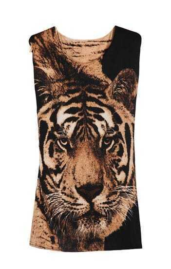 Camel and Black Tiger Print Sleeveless T-shirt
