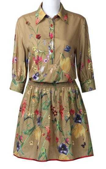 Dark Khaki Half Sleeve Flowers Print Pleated Shirt Dress