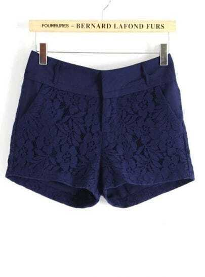 Navy Mid Waist Lace Embroidery Shorts