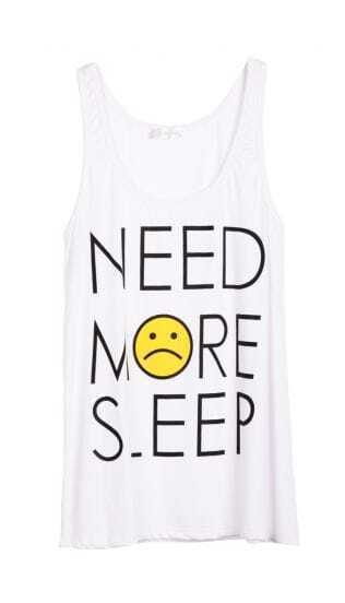 White Sleeveless NEED MORE SLEEP Print T-Shirt