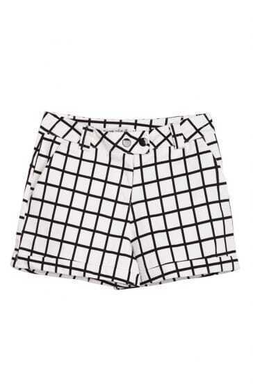 White Black Plaid Pockets Buttons Shorts