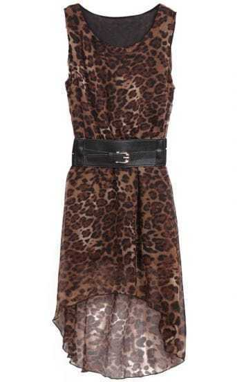 Leopard Sleeveless Belt High Low Chiffon Dress
