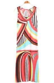 Red Sleeveless Vertical Stripe Geometric Dress