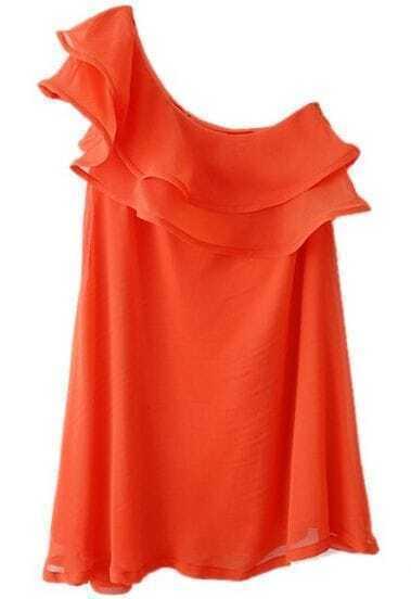 Orange One-Shoulder Cascading Ruffle Chiffon Dress
