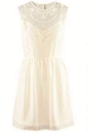 Beige Sleeveless Hollow Lace Chiffon Tank Dress