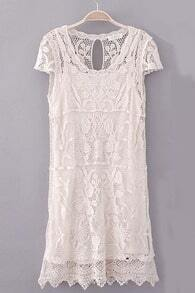Beige Short Sleeve Hollow Lace Two Pieces Dress