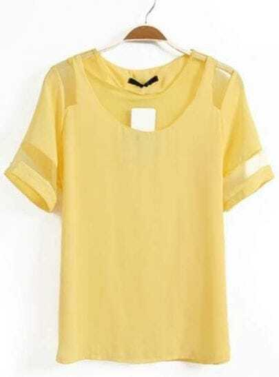 yellow short sleeve contrast mesh yoke chiffon t
