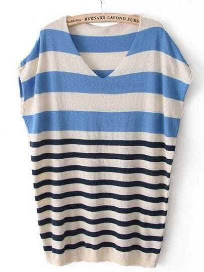 Blue Short Sleeve Striped Pullover Sweater