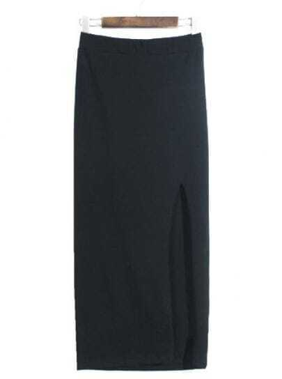 Black Elastic Bodycon Split Skirt