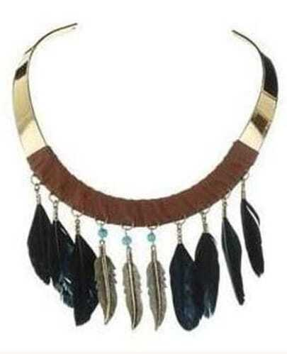 Gold Collar Feather Tassel Necklace