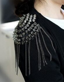 Silver Rivet Chain Tassel Shoulder Brooches