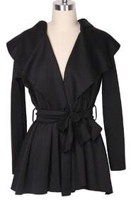 Black Hoodie Belt Waist Open Long Coat