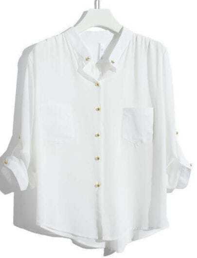 White Batwing Sleeve Star Rivet Chiffon Blouse