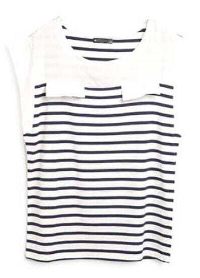 Blue White Short Sleeve Sleeveless Striped T-Shirt