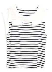 Blue White Short Sleeve Sleeveless Striped T-Shirt