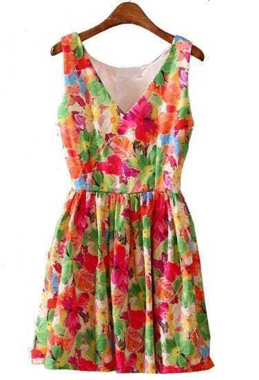 Green V Neck Sleeveless Floral Pleated Dress