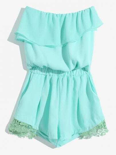 Green Sleeveless Lace Ruffles Elastic Waist Jumpsuit