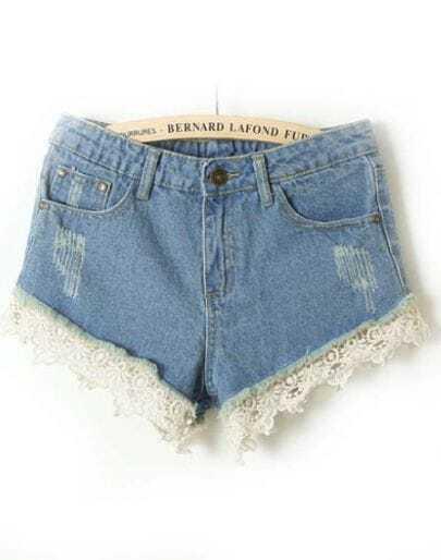 Light Blue High Waist Lace Ripped Denim Shorts