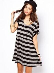 Black Grey Short Sleeve Striped Loose Dress