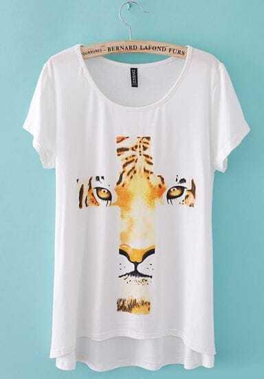 White Short Sleeve Tiger Cross Print T-Shirt