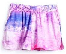 Pink Purple Elastic Waist Straight Shorts