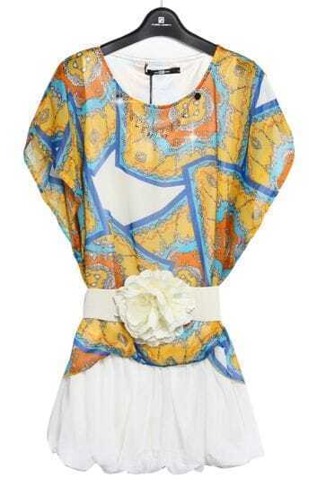 Yellow Batwing Sleeve Geometric Print Belt Dress